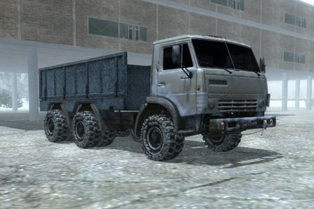 Водитель грузовика в тайге